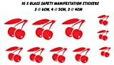 Cherries Glass Safety Manifestation Conservatory Glass Window Decals Stickers (RED) - Vinylworld - amazon.co.uk