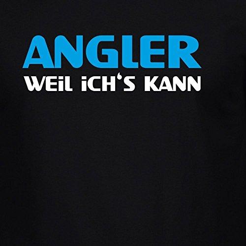 Fun Shirt Herren ANGLER Weil ich's kann an Sprüche Angeln Angelsprüche Schwarz