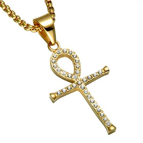 PAURO Herren Edelstahl Vergoldet Mikro Pflastern Strass Cz Ägyptischen Ankh Kreuz Anhänger Halskette