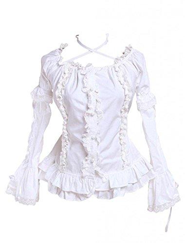 Cemavin Womens Baumwolle Weißen Rüschen Lolita Bluse Mit Langen ärmeln (Ärmel Bluse Rüschen)