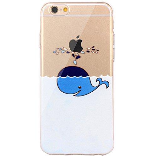 JIAXIUFEN Neue Modelle TPU Silikon Schutz Handy Hülle Case Tasche Etui Bumper für Apple iPhone 6 6S - Amüsant Wunderlich Design Giraffe eating Apple Color27