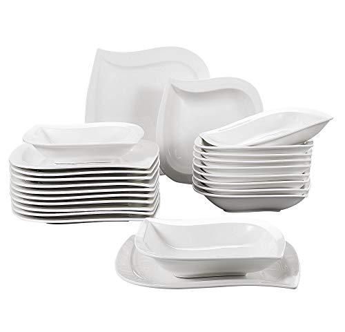 MALACASA, Serie Elvira, Cremeweiß Porzellan Tafelservice 24 TLG. Kombiservice Set Geschirrset mit Speiseteller und Suppenteller, je 12 Stück