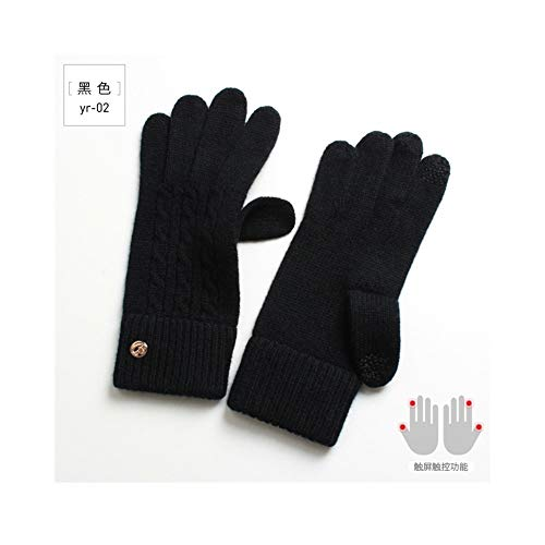 Ywlanlantrading Handschuh Damen Wollhandschuhe Touchscreen Touch Warm Single Layer Kalt Einfache Reine Kaschmirhandschuhe (Color : Black, Size : One Size) -