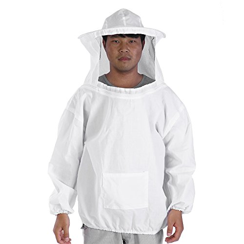 Haofy Imkerjacke mit Hut Professional Imkerbekleidung Baumwolle Bienenschutzkleidung Schutzbekleidung für Imker, Wespenschutzanzug für Herren und Damen (Weiß) - Schulterbreite: ca. 66cm / 25.98inch -