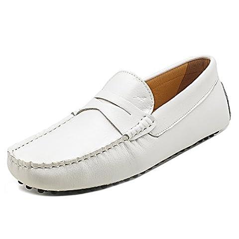 Shenduo - Mocassins pour homme cuir - Loafers confort - Chaussures de ville D7152 Blanc 43