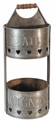 Antic Line Zinc d'ail et Oignon Double paniers de Rangement Vertical 34.5 x 14 cm [en Langue étrangère]