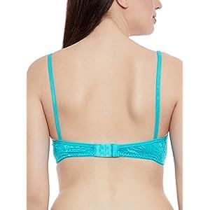 Clovia Women's Lace Non-Padded Non-Wired Balconette Bra (BR0816P11_Green_36B)