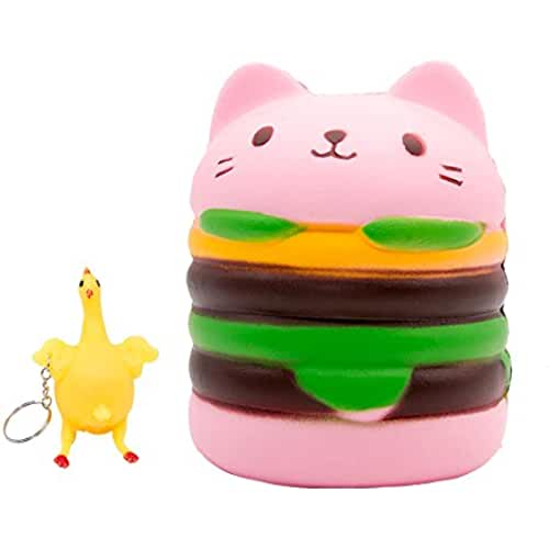 juguetes kawaii MMTX 2 PC Súper Suave Cut Animal Squishies Cat Hamburguesa Kawaii Cream Scented Slow Rising Squishy Descompresión Alivio del Estrés Juguetes