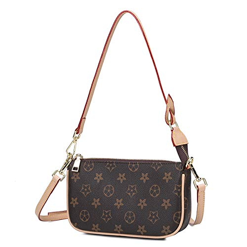 Ldyia Damen Messenger Bag Fashion Print Schulter Crossbody Bag Joker Mini Kette Square Bag, Brown Umhängetasche