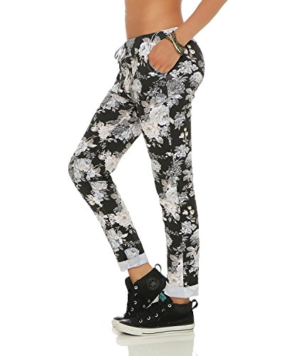 ZARMEXX Damen Sweatpants Baggy Hose Boyfriend Freizeithose Sporthose All-Over Roses Print One Size Schwarz 1