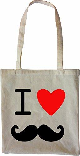 Mister Merchandise Tote Bag I Love Moustache Borsa Bagaglio , Colore: Nero Naturale