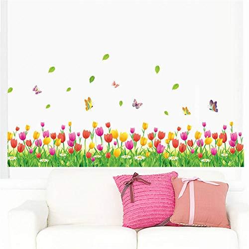 LMWVOP Augen Wunderbare Garten Tulpe Blume Schmetterling 3D Wandaufkleber Wohnkultur Wohnzimmer Schlafzimmer