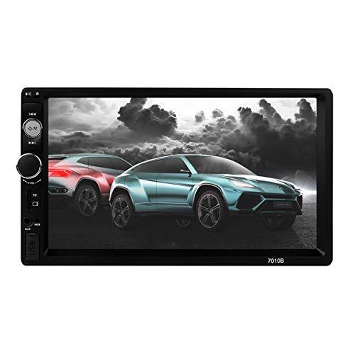 Nrpfell 7 Zoll HD Bluetooth Touchscreen 2 DIN Auto Stereo Radio FM AUX USB SD MP5 Player + Rueckfahrkamera + Fernbedienung + Stromkabel Mit mobilem Internet 7010B