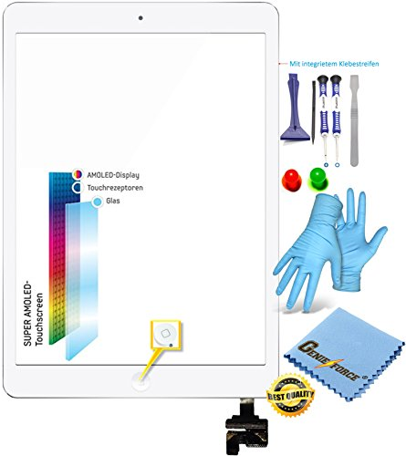 Genieforce® Retina Touchscreen Glas Digitizer WEIß für iPad Mini 1st Generation, iPad Mini 2 Display, mit Original LVA Flexkabel, IC-Chip - inkl. 9-in-1 Profi Werkzeugsset WEIß