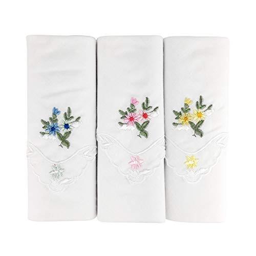One Stop Eshop 3er Pack bestickte Damen Taschentücher aus 100% Baumwolle mit Spitze an den Kanten (Taschentücher Bestickte Damen)