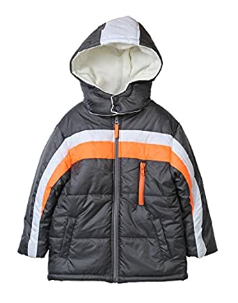 Beebay Boys 100% Polyester Striper Quilted Jacket With Hood (Grey,2-3 Years)