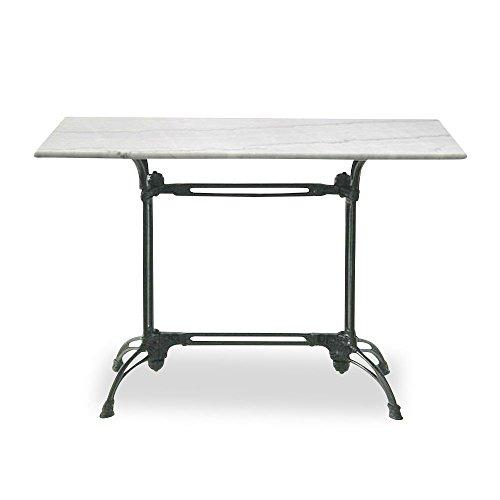 Homy Bistrotisch Marmor Metall rechteckig Marmorplatte weiß Eisengestell schwarz Gartentisch - Mula