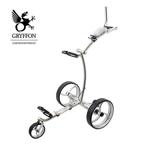 Elektro Golf Trolley GRYFFON Professional Steel Edelstahl mit Fernbedienung und Lithium-Eisen Akku / 24V Lithium Elektro Caddy Golf / Elektro Trolley X2R-SS -