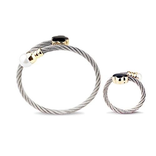 Juego pulseras anillos acero inoxidable mujer, triples