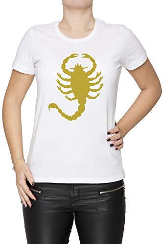 Erido Conducir Escorpión Mujer Camiseta Cuello Redondo Blanco Manga Corta Tamaño M Women's White T-Shirt Medium Size M