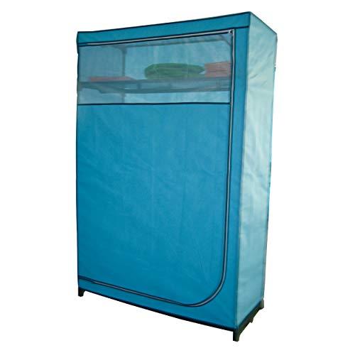 MSV 265 Kleiderschrank, Polypropylen/Vliesstoff, Metallrohre, 116x50x178cm, Blau