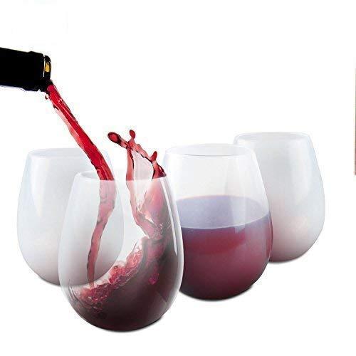 Verres à vin incassables de 350 mL, pliables, en silicone pliable 4 Pack-L claire
