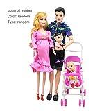 JullyeleFRgant 5 Personnes poupées Costume Enceinte poupée Famille Maman + Papa + bébé Fils + 2 Enfants + Landau Cadeau Jouets Enfants Jouets