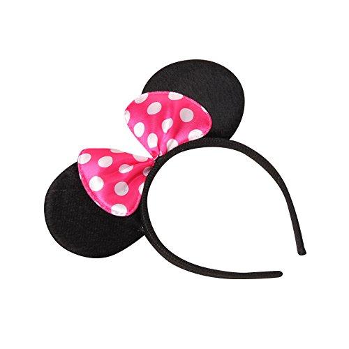 Kopf Maus Minnie Kostüm - themattys Minnie-Mouse Minnie-Maus Ohren mit Schleife - Kostüm für Erwachsene & Kinder in 4 perfekt für Fasching, Karneval & Cosplay - Haarreif Pink