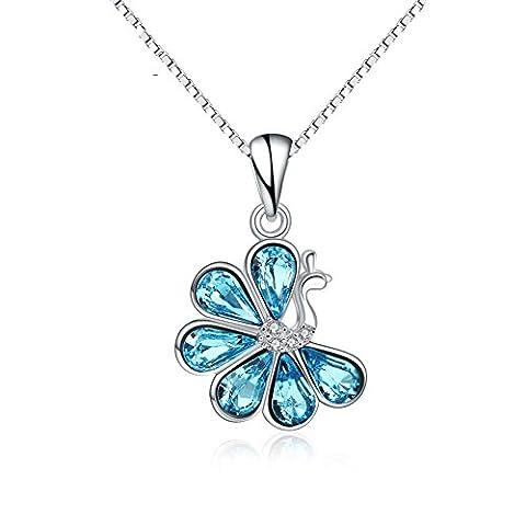 S925 argent sterling cristal Swarovski Swan collier pendentif Femme Fille