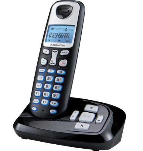 Sagemcom 253456855 - Teléfono inalámbrico con contestador, color negro [Importado del Reino Unido]