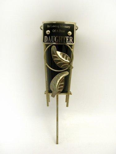 Vase funéraire avec tige en métal-Plaque Inscription In Loving Memory of a Dear Daughter. Vase en plastique inclus Noir.