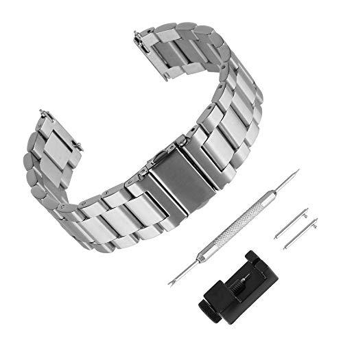 BEWISH 22mm Uhrenarmbänder Edelstahl Ersatzband Solide Metall Schnellwechselbügel Schmetterling Uhrarmband Faltschließe Wechselarmband Uhr Armband Smart Watch Wrist Strap Band Uhrmacherwerkzeug