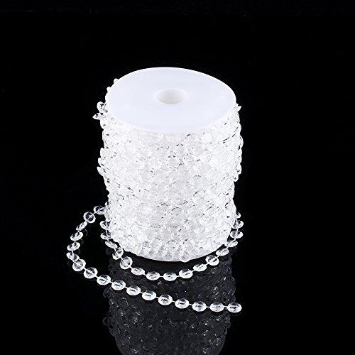 Preisvergleich Produktbild 30M Kristall Acryl Perlen Rolle Kristall Kette für Dekoration Party Hochzeit Türvorhang Raumteiler Perlenvorhang Klar