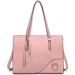Miss Lulu Bolso de hombro de asa superior de cuero para mujer de bolsos de moda para damas (rosa)