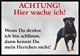 INDIGOS UG - Achtung/Fun Schild - Rottweiler Türschild Türschild A5 ca. 21x15 cm 3mm PVC - Türschild für Käfig, Zwinger, Haustier, Tür, Tier, Aquarium