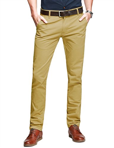 Match Herren Slim-Tapered Flat-Front Casual Hose #8025(8025 Khaki,38)