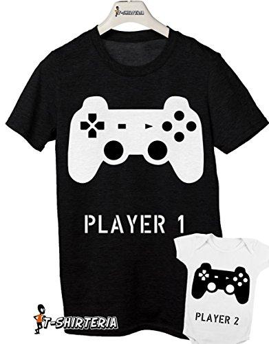 t-shirt e body festa del papà - Player 1 player 2-tutte le taglie uomo donna maglietta by tshirteria