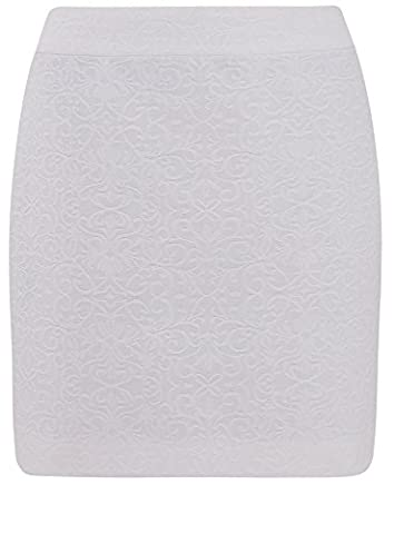 oodji Ultra Femme Jupe Courte Coupe Droite, Blanc, FR 36 / XS