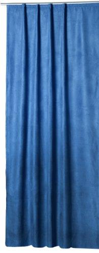 Thermovorhang Island Alcantara Optik Polar Fleece Gardine mit Kräuselband Vorhang Blickdicht B/H ca 140x245 cm (königsblau, Kräuselband/Universalband)
