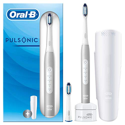 Oral-B Pulsonic Slim Luxe 4200 Elektrische Schallzahnbürste für gesünderes Zahnfleisch in 4 Wochen, mit Reise-Etui, Frustfreie Verpackung, platin
