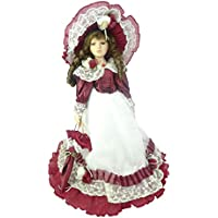 TOYLAND Muñeca de Porcelana de 45cm en Vestido Rojo y Blanco - Juguetes para Niñas
