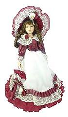 Idea Regalo - Bambola di porcellana 45 cm in abito rosso e bianco - Giocattoli per ragazze