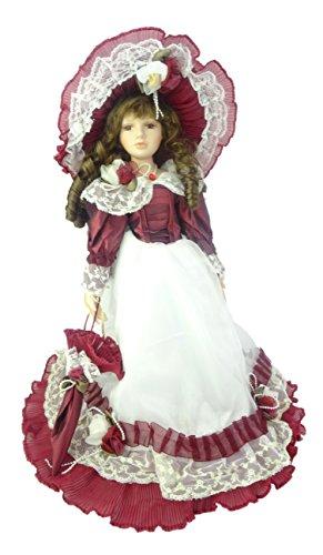 Muñeca de porcelana de 45cm en vestido rojo y blanco - Juguetes para niñas