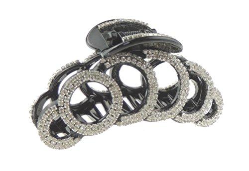 Extra Sparkly Abend Kristalle schwarz Damen Luxus 9cm Haar Haarkralle Kreise