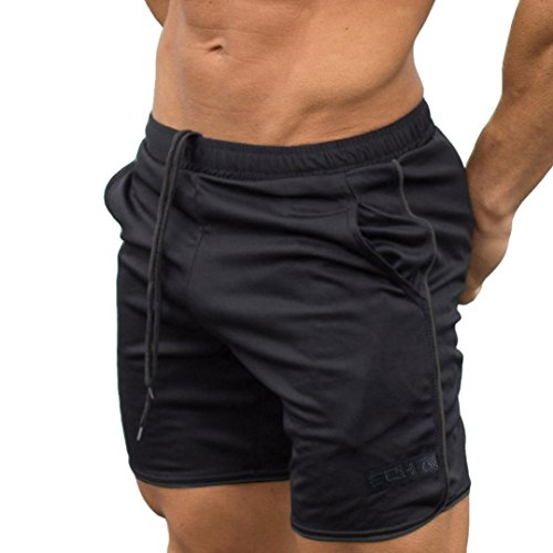 OSYARD Männer Sport Training Bodybuilding Sommer Brief Shorts Workout Fitness Gym Kurze Hosen(M, Schwarz) -