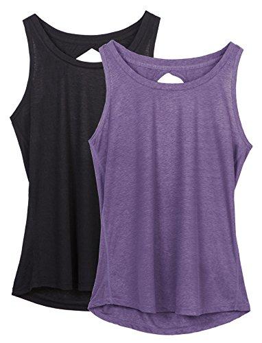 dee8e2593b486 icyzone Damen Yoga Sport Tank Top - Rückenfrei Fitness Shirt Oberteil  ärmellos Training Tops (M