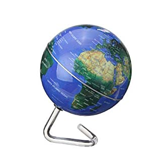 MYAMIA 4 inch Durchmesser elektrischen rotierenden Globus automatische 360 Dregee Rotation Desktop-Welt Karte-blau