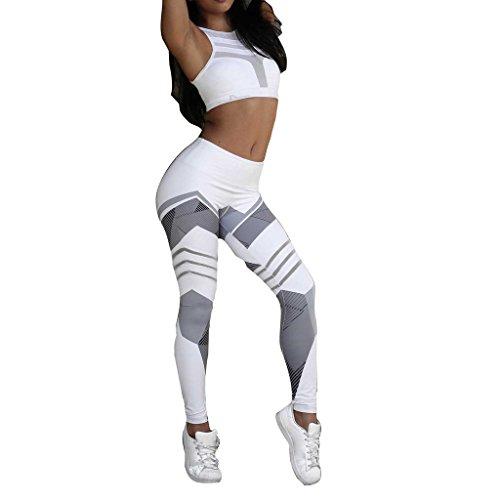 Femme Pantalon Leggings de Sport - Fleurs Imprimées Elasticite Yoga Fitness Jogging Gym Skinny Highdas Blanc