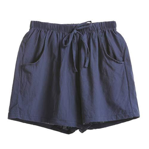 s, High-Waist Cotton Flax Slacks und Casual Weite Hosen Loose Beach Shorts(Marine,XL) ()
