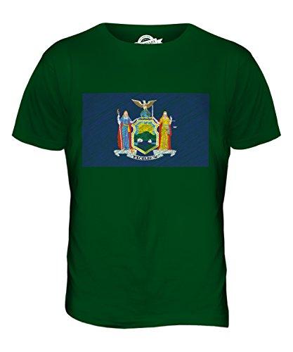 CandyMix Bundesstaat New York Kritzelte Flagge Herren T Shirt Flaschengrün